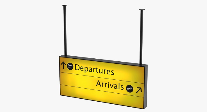 arrivals and departures sign