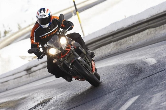 riding motorcycle in winter